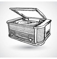Retro turntable isolated vector