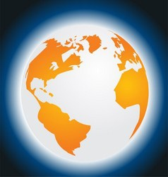 Orange planet earth isolated on blue background vector