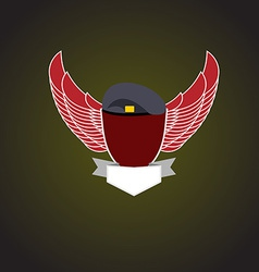 Emblem military shield wings vector