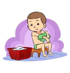 Prepare to take bath vector