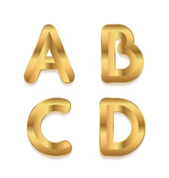 Golden alphabet set of metallic 3d letters vector