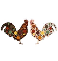 Dotted rooster vector