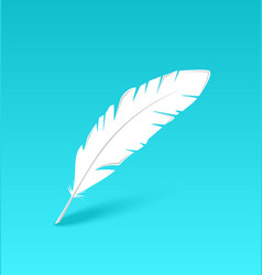 White feather isolated on blue background vector