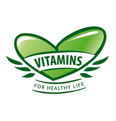 Logo vitamins as a green heart vector