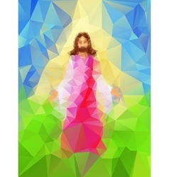 Light from jesus as he walks in triangle style vector