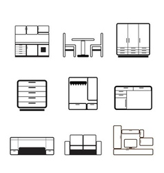 Furniture and furnishing icons vector