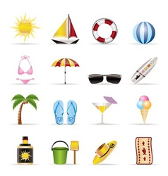Realistic summer and holiday icons vector
