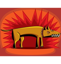 Angry dog over red flash vector