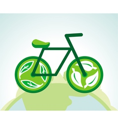 Green bicycle with recycle signs - ecology concept vector