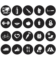 White icons in the circles on health vector