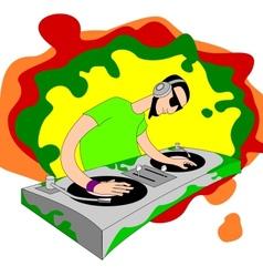 Cartoon acid dj on set vector