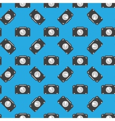 Camera sign seamless pattern on blue background vector