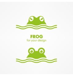 Green frog head vector