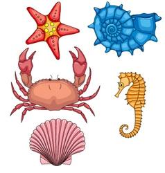 Set of sea animals vector