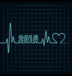 Heartbeat make 2015 and heart symb vector