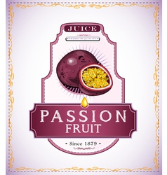 Ripe passion fruit on juice or fruit product label vector
