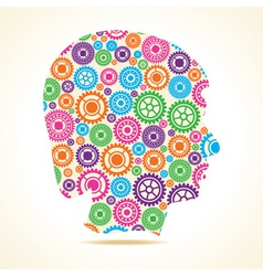 Group of colorful gears make a male face vector