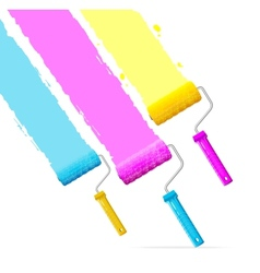 Roller brushes with cmyk paint vector