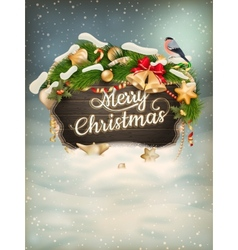 Wooden banner with christmas fur-tree branches vector