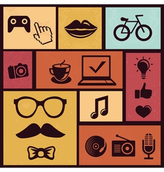 Set with trendy hipster icons and design element i vector