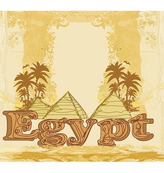 Vintage frame with pyramids giza vector