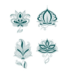 Set of abstract persian or indian flowers vector