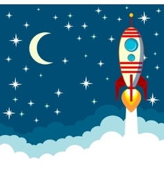 Rocket on the moon background vector