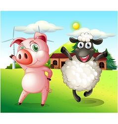 A pig and a sheep dancing at the farm with a vector