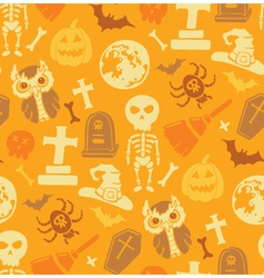 Seamless pattern with halloween objects vector