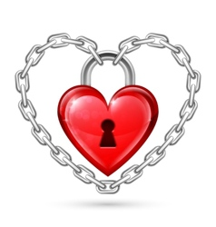 Red heart lock and chains vector