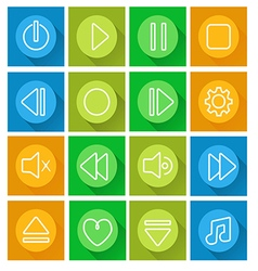 Media player icon setflat design vector