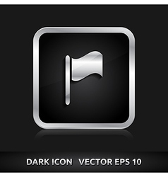 Flag goal finish icon silver metal vector