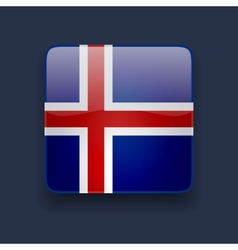 Square icon with flag of iceland vector