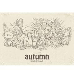 Autumn mushrooms grass and vector