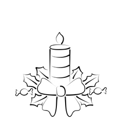 Christmas candle with bow freehand style vector