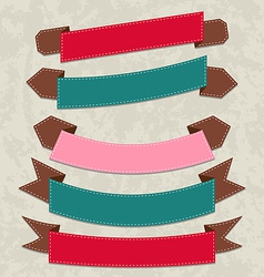 Set colorful ribbons various forms vector