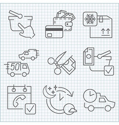Shoopping store and delivery icons set vector