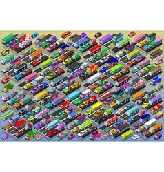 Isometric cars buses trucks vans mega collection vector