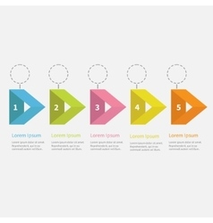 Infographic five step with ribbon arrow dashed vector