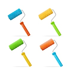 Roller brushes set with colors paint vector