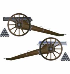 Cannon battle field vector