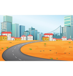 A narrow road going to the city vector