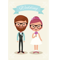 Bride and groom hipsters vector