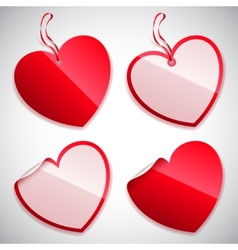 Heart shaped tags vector
