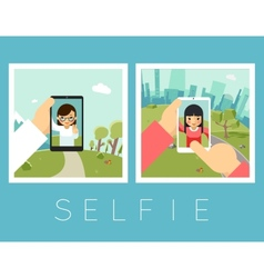Womens selfie outdoor and mountains photos vector