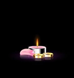 Candle with petal and ring vector