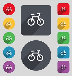 Bicycle icon sign a set of 12 colored buttons and vector