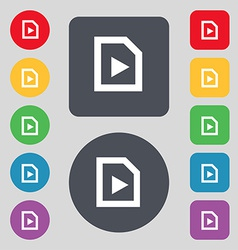 Play icon sign a set of 12 colored buttons flat vector