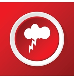Thunderbolt icon on red vector