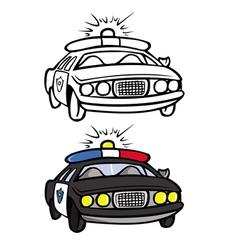 Police car coloring book vector
